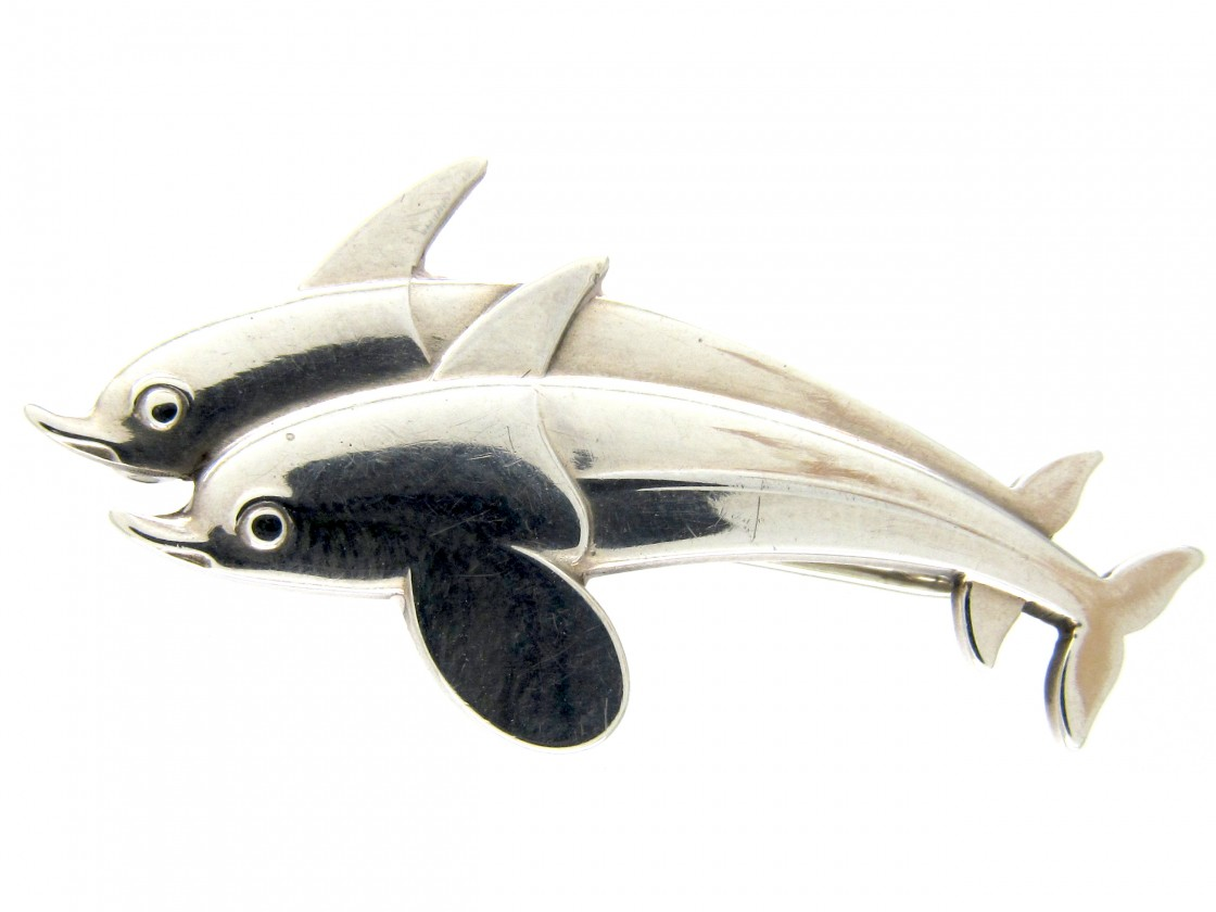 Georg jensen silver dolphins brooch the antique jewellery company