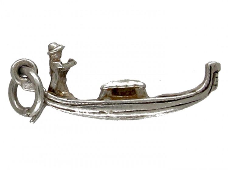 silver venetian gondola charm the antique jewellery company