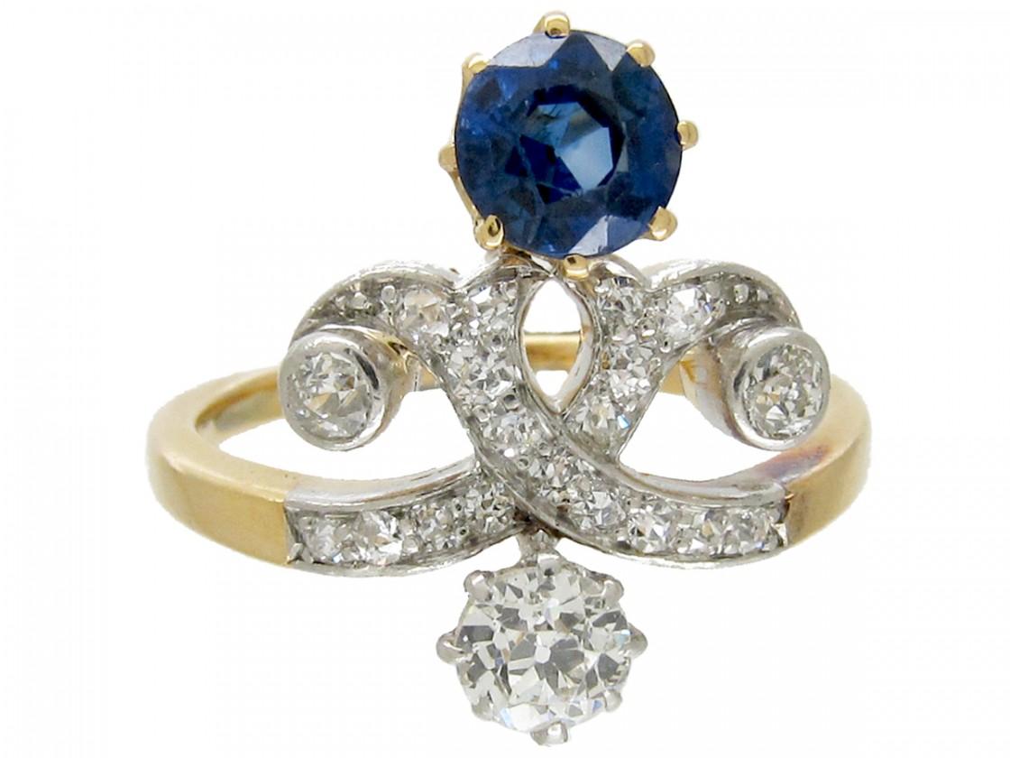 Art Nouveau Sapphire Amp Diamond Ring The Antique