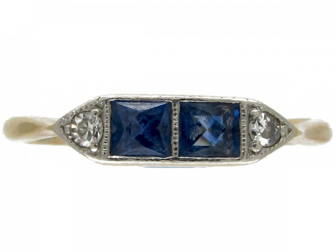 Double Sapphire Art Deco Ring The Antique Jewellery Company