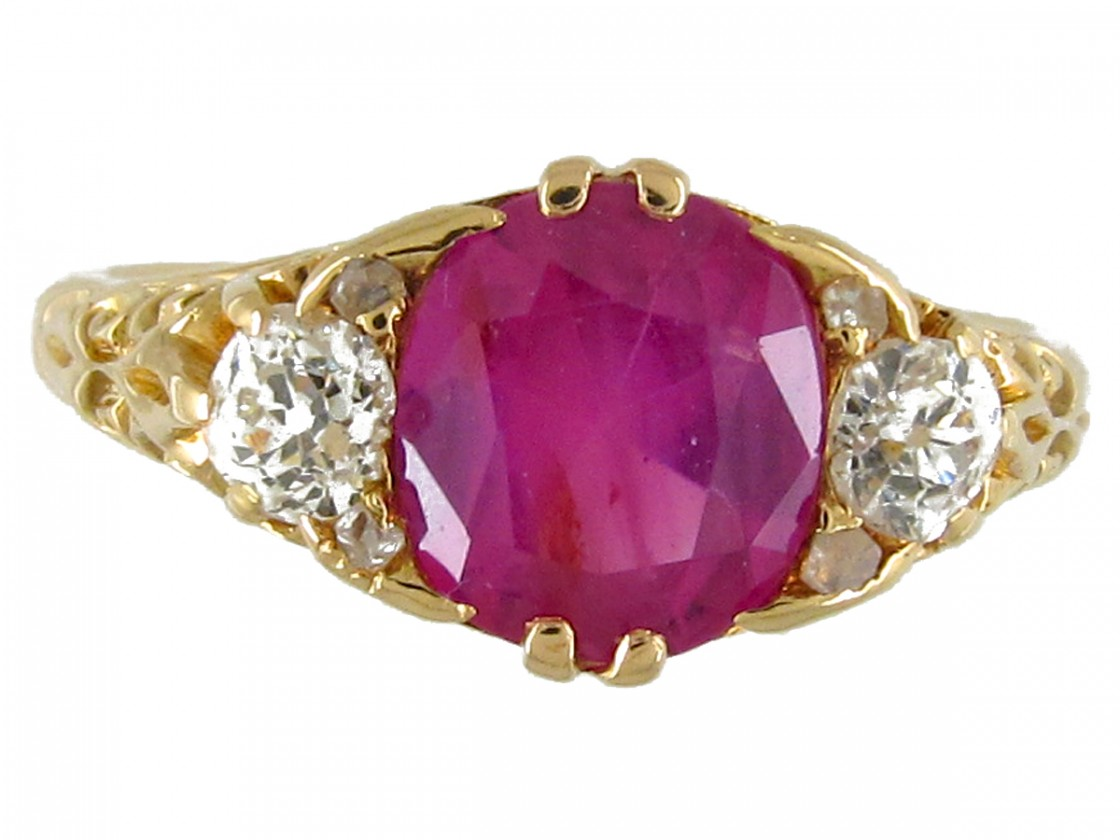 Victorian Pink Sapphire Amp Diamond Three Stone Ring The