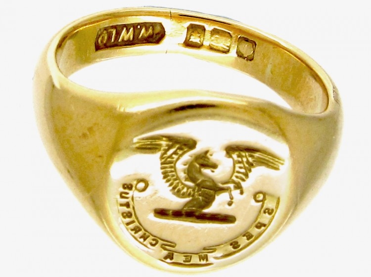 18ct Gold Pegasus Signet Ring The Antique Jewellery Company