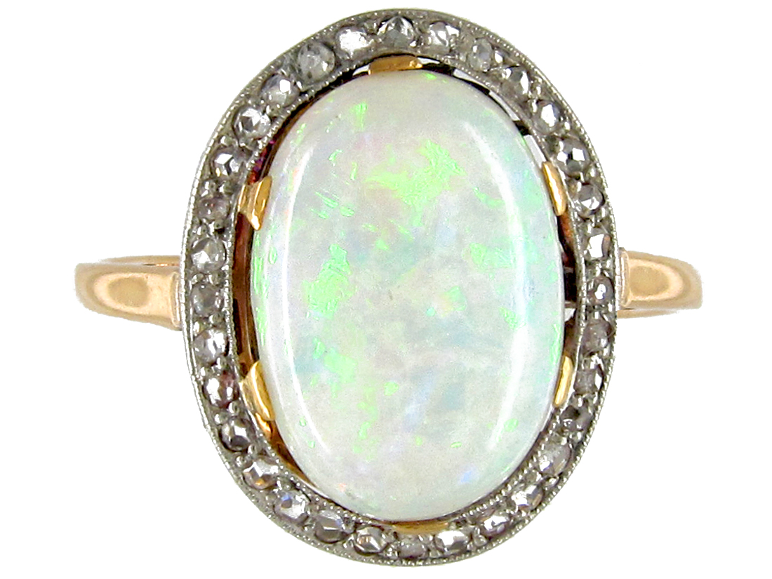 Edwardian Opal Amp Diamond Cocktail Ring The Antique