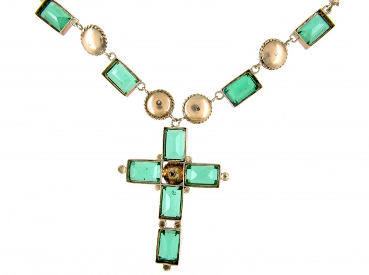 Gold Amp Paste Holbeinesque Necklace With Cross The
