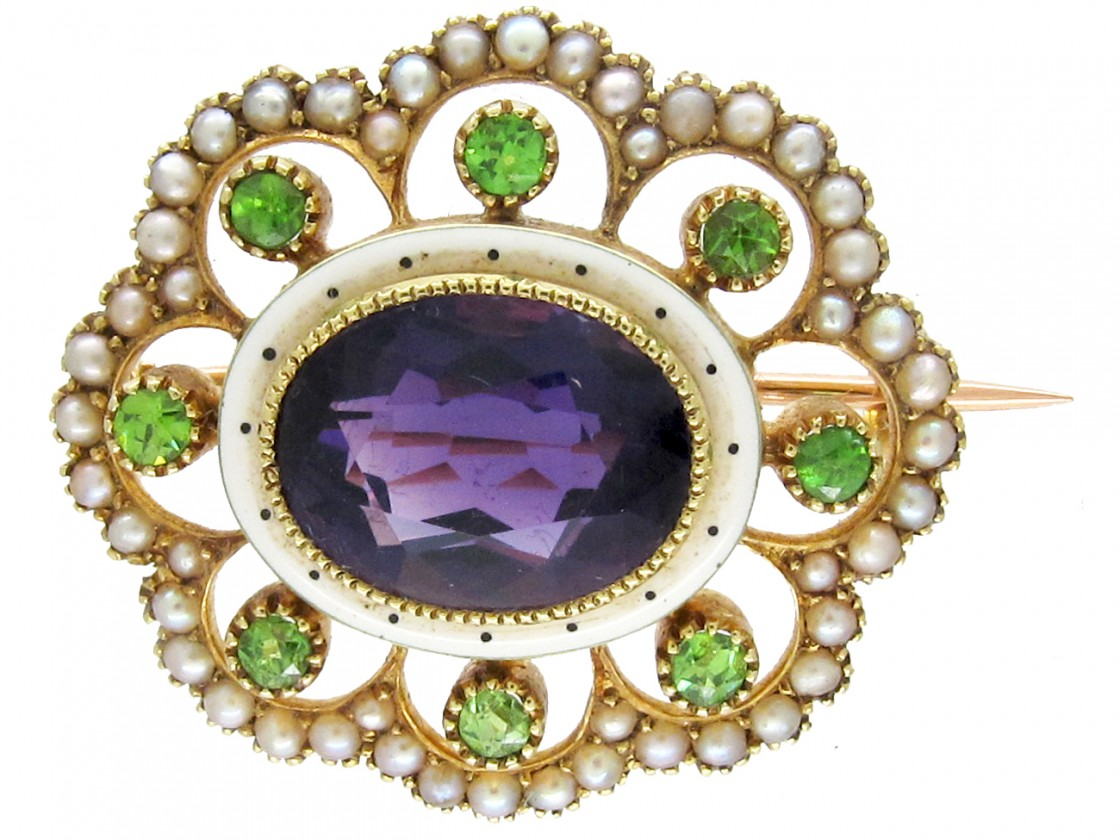 Suffragette Amethyst Peridot Amp Seed Pearl Brooch The