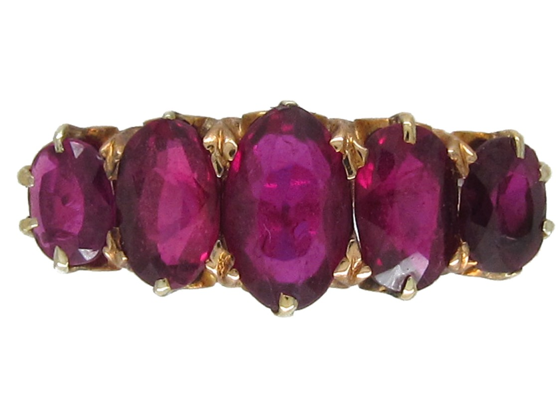 Victorian Five Stone Ruby Ring The Antique Jewellery Company
