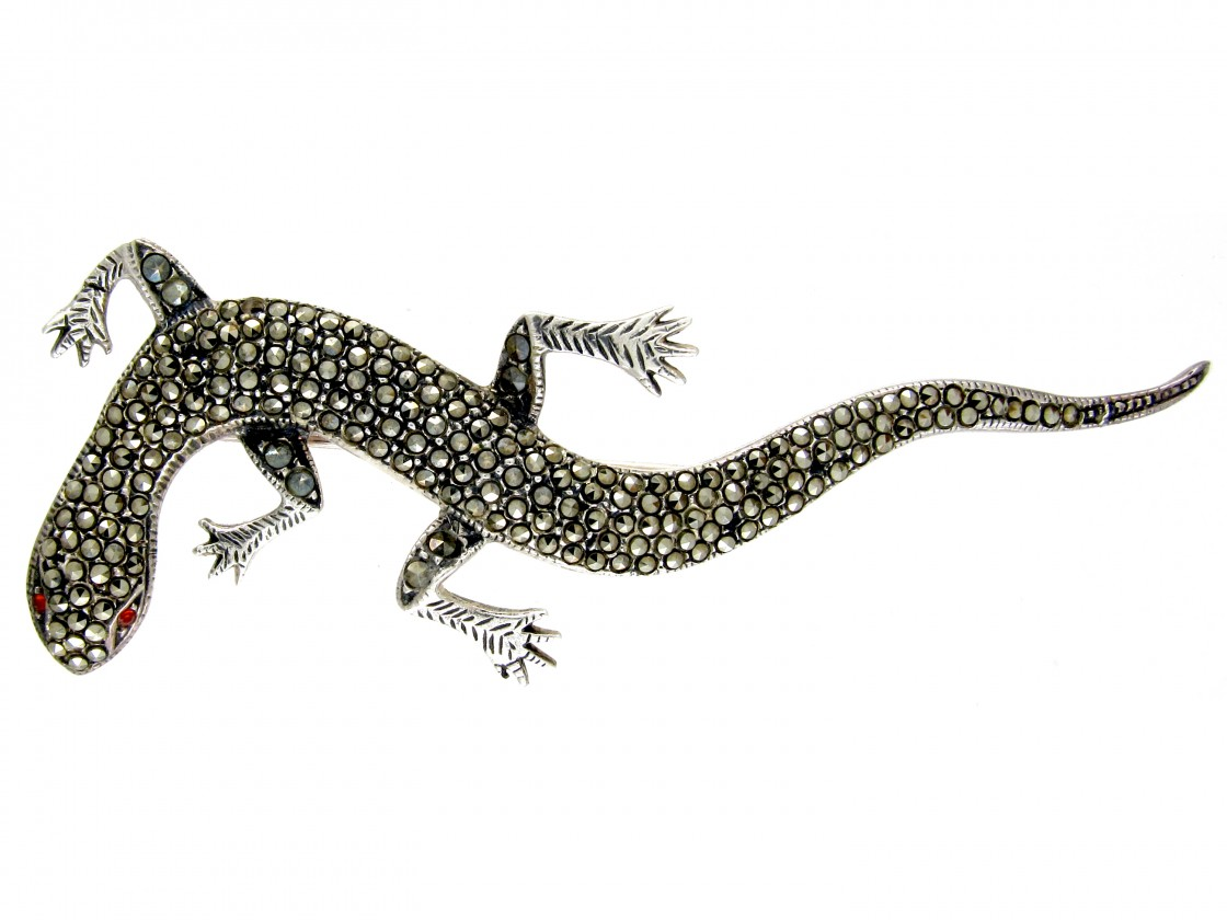 Large Silver Amp Marcasite Lizard Brooch The Antique
