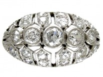 Diamond Set Art Deco Bombé Shape Ring