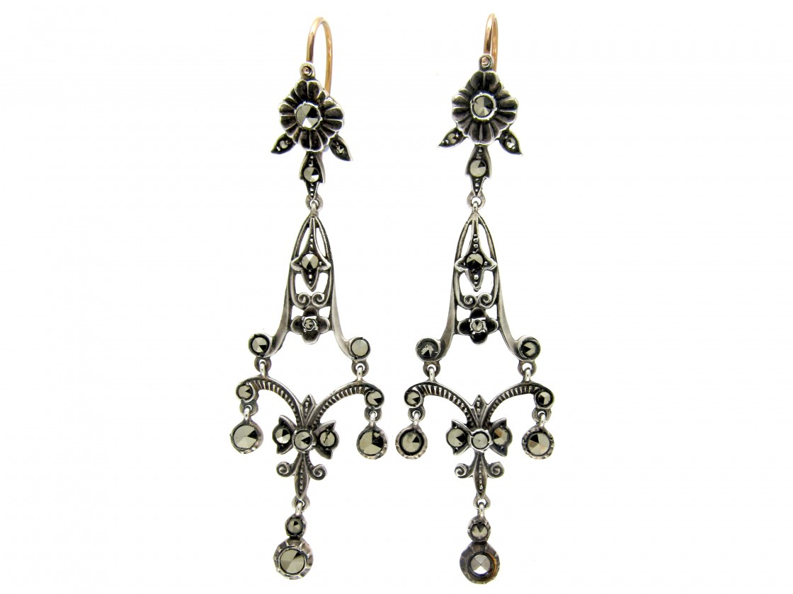 Long Drop Edwardian Silver Gold Marcasite Earrings