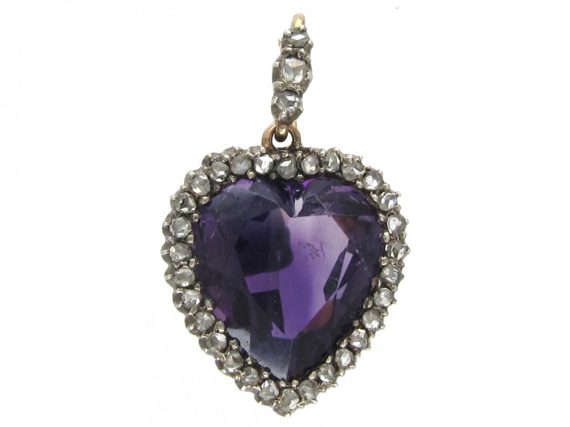 Edwardian Diamond Amp Amethyst Heart Pendant The Antique