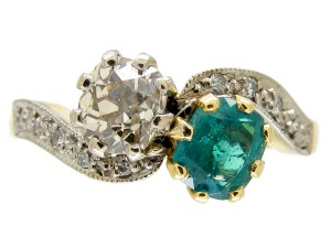 Emerald & Diamond Art Nouveau Twist Ring