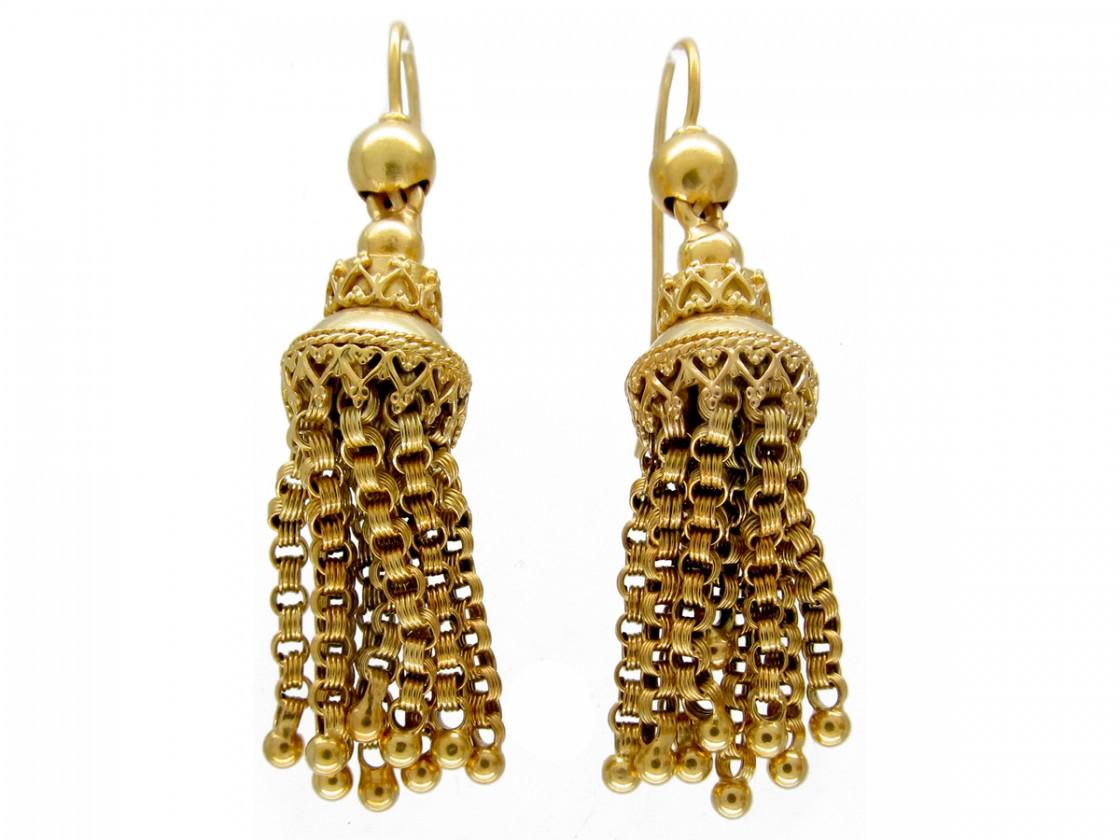 Victorian 18ct Gold Tassel Earrings - Victorian 18ct Gold Tassel Earrings - The Antique Jewellery Company
