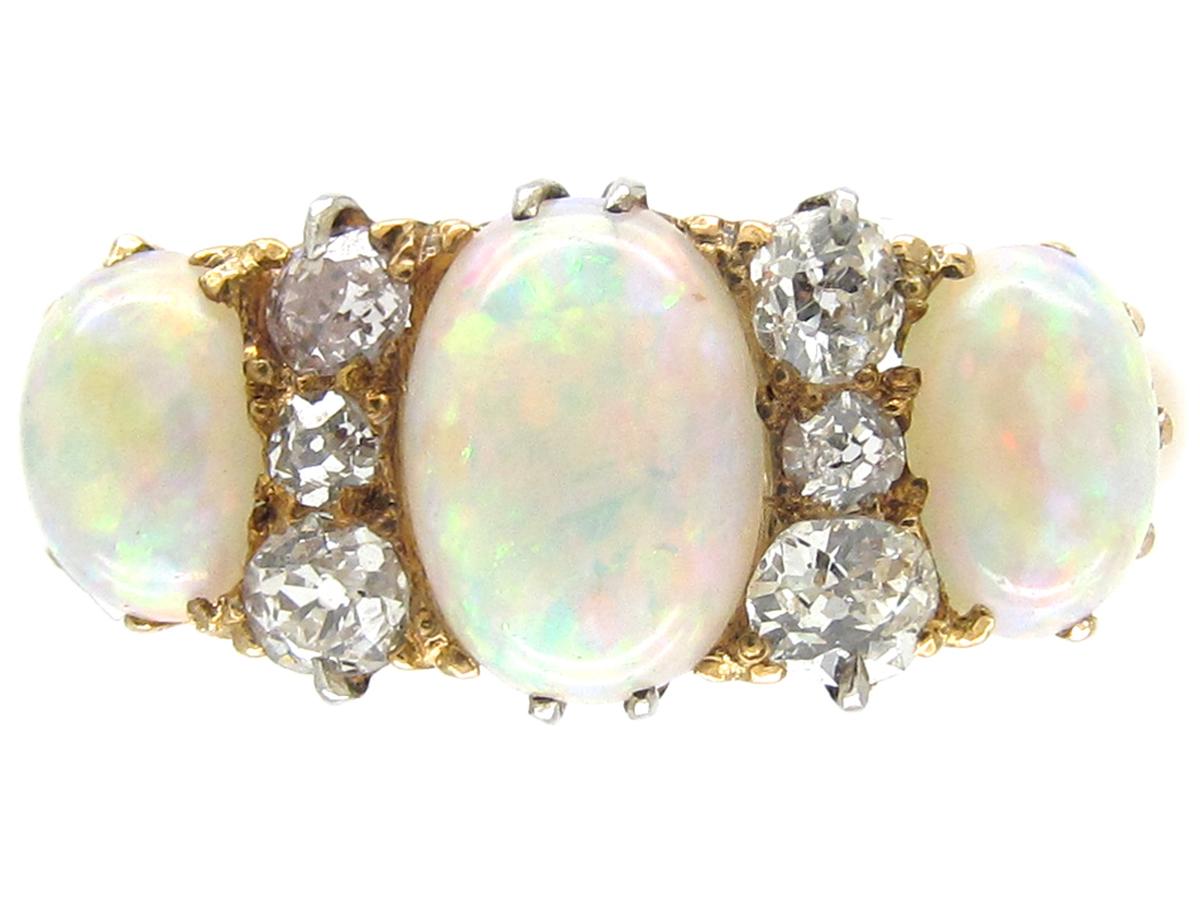 Victorian Opal Amp Diamond Three Stone Ring The Antique