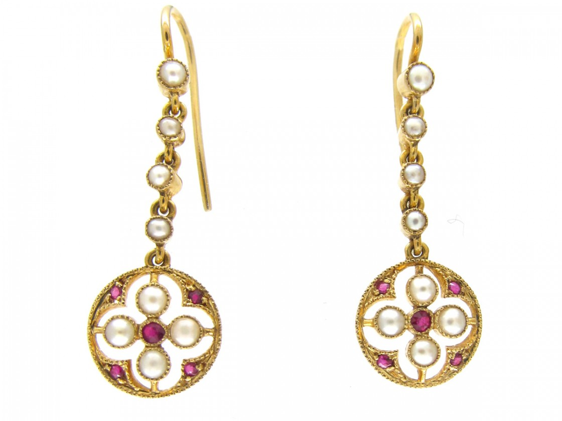 15ct Gold Ruby Amp Pearl Edwardian Earrings The Antique