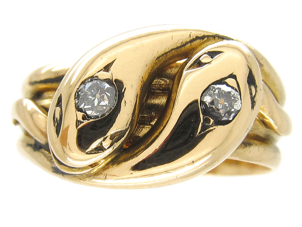 Victorian Diamond Set Double Snake Ring The Antique
