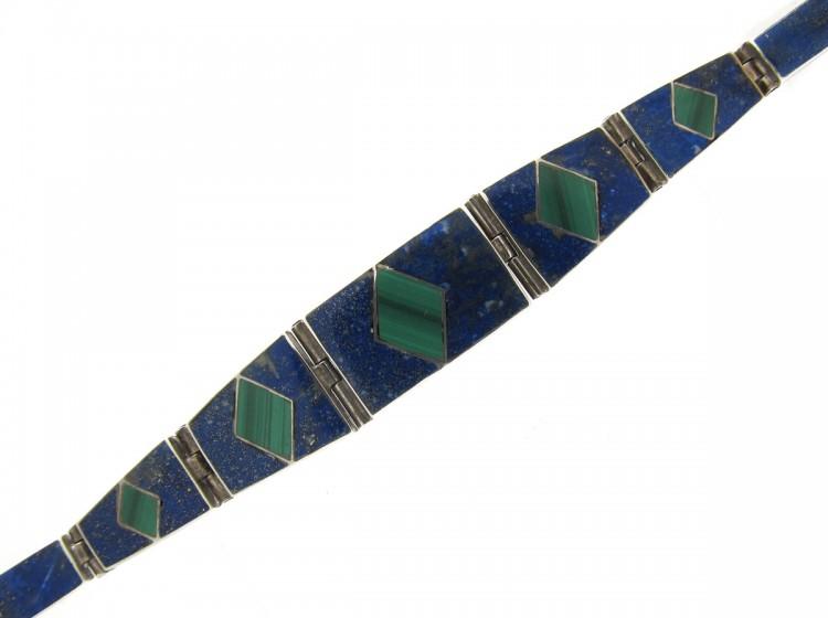 Mexican-silver,-lapis-and-malachite-bracelet-(2)
