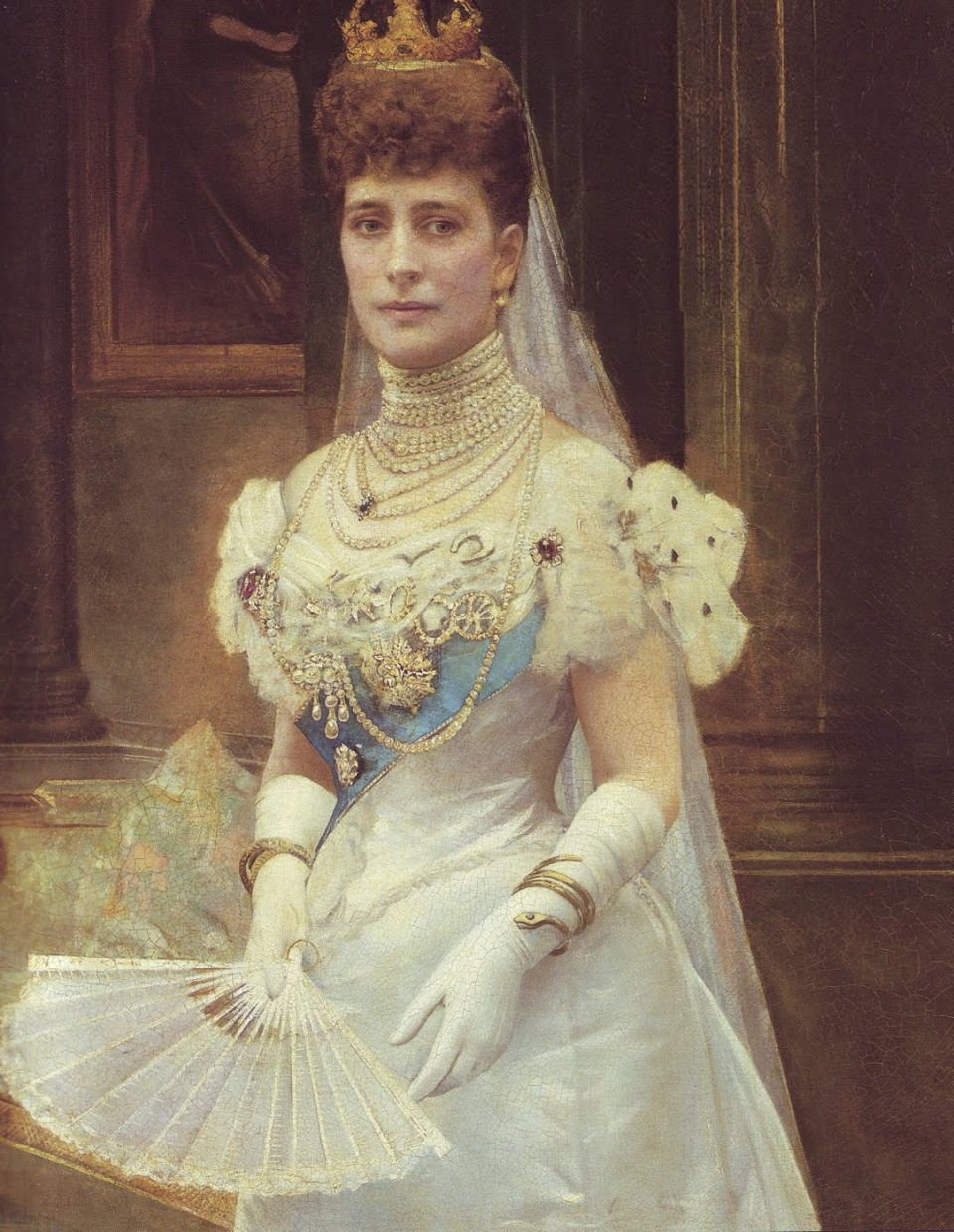 Portrait of Queen Alexandra and her favoured serpent bracelet