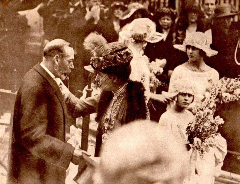 Queen Mother Alexandra and her son King George V at the Moutbatten wedding in 1922 - 3 years before her death.