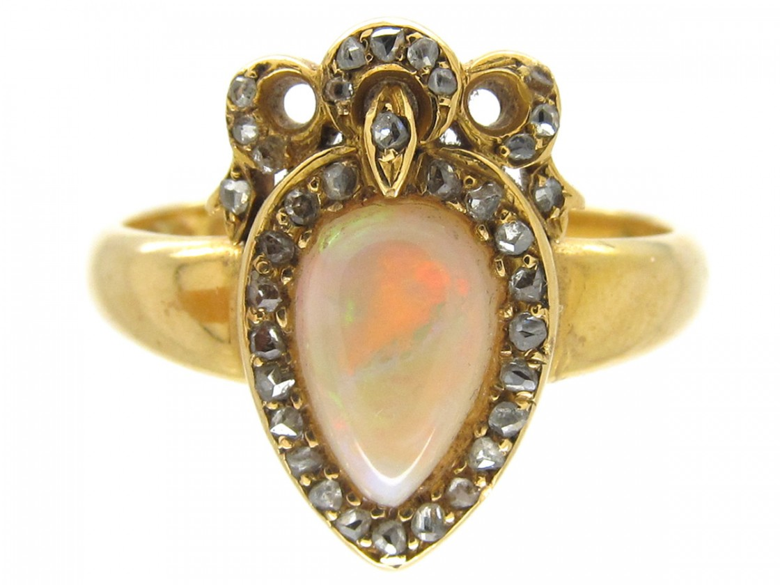 Victorian Heart Shaped Opal Amp Diamond Ring The Antique