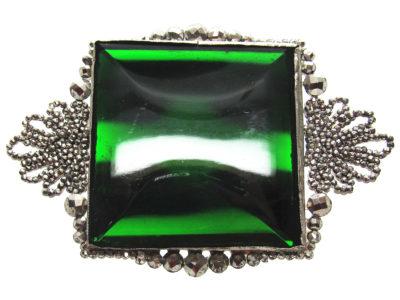 Georgian Cut Steel & Green Vauxhall Glass Brooch