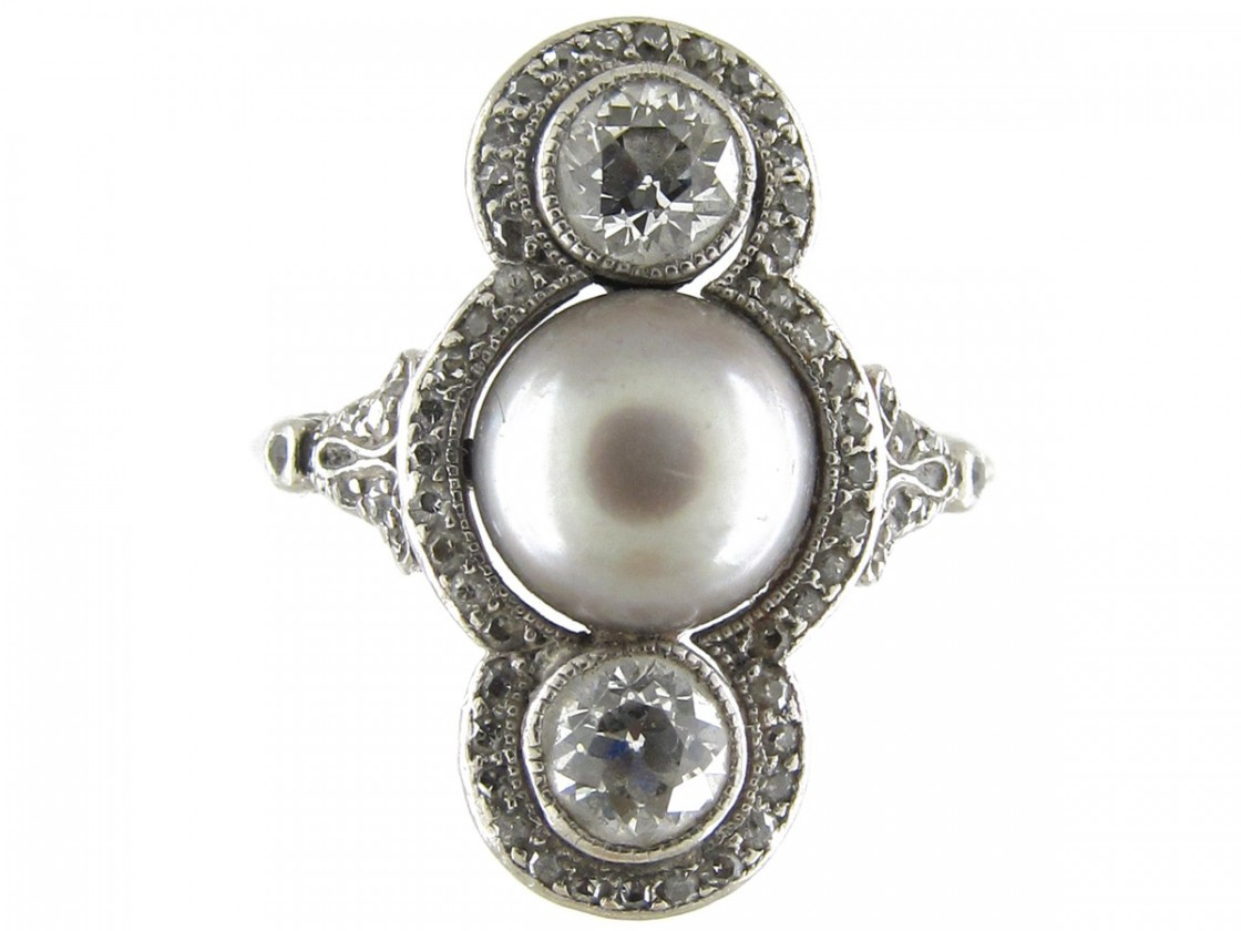 Natural Grey Pearl Amp Diamond Art Deco Ring The Antique