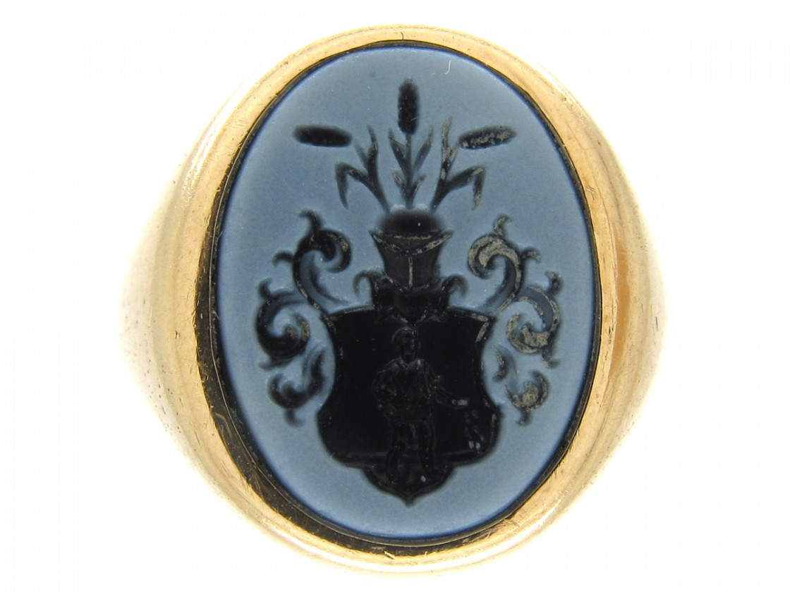Sardonyx Intaglio Signet Ring The Antique Jewellery Company