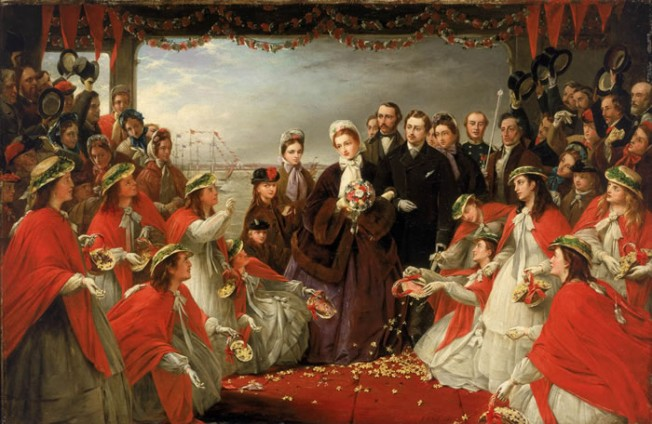 'The Landing of H.R.H. the Princess Alexandra at Gravesend, March 7, 1863,' by Henry Nelson O'Neil, 1864