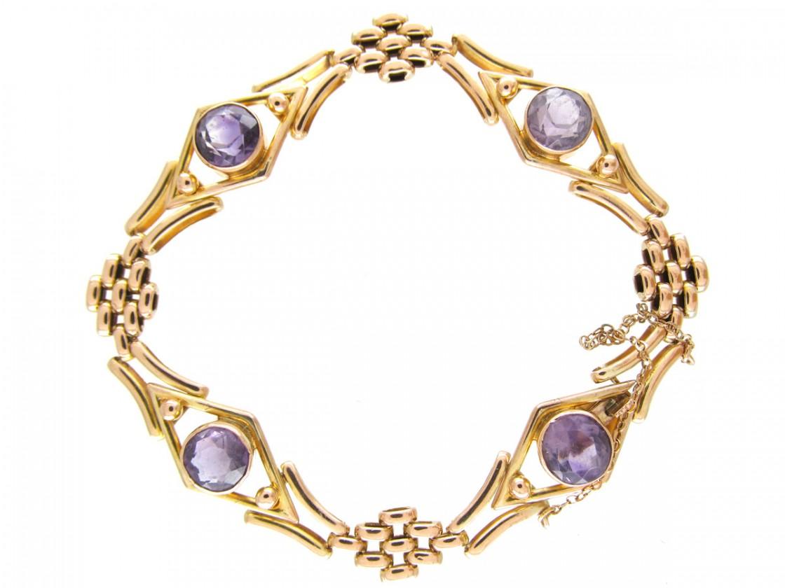 Edwardian Amethyst 9ct Gold Gate Bracelet The Antique