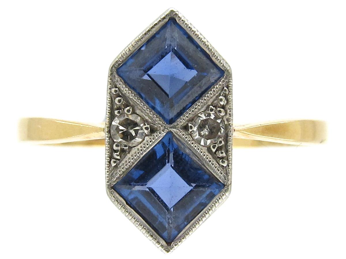Art Deco Sapphire Amp Diamond Double Diamond Shaped Ring