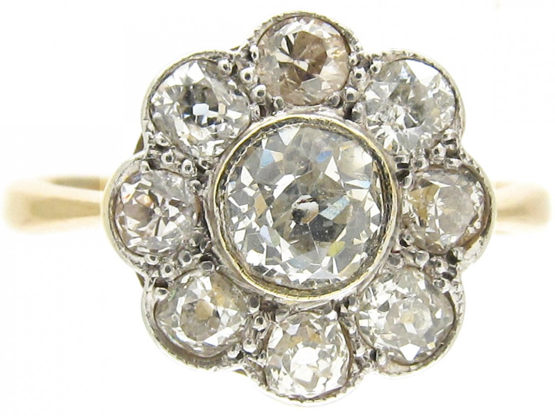 Edwardian Daisy Diamond Cluster Ring The Antique