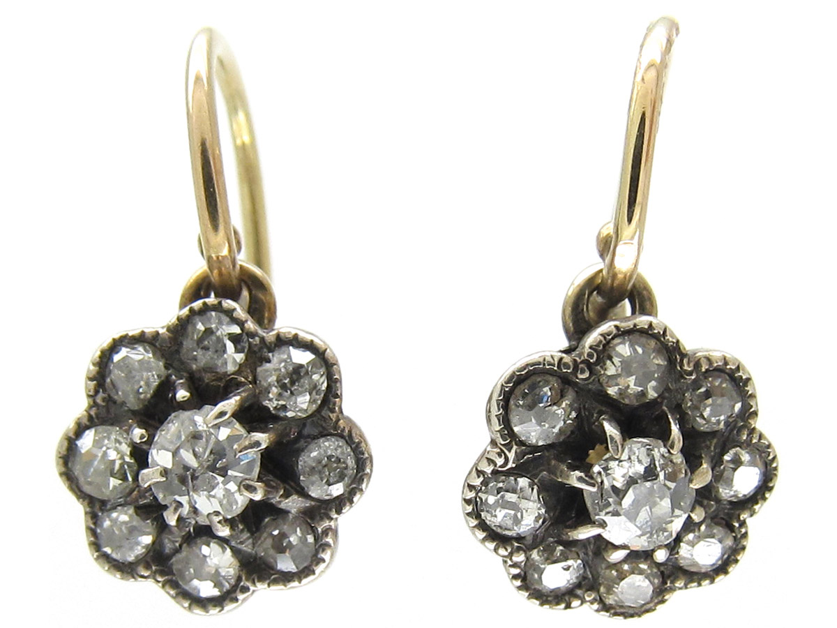 Small Diamond Cluster Edwardian Earrings The Antique