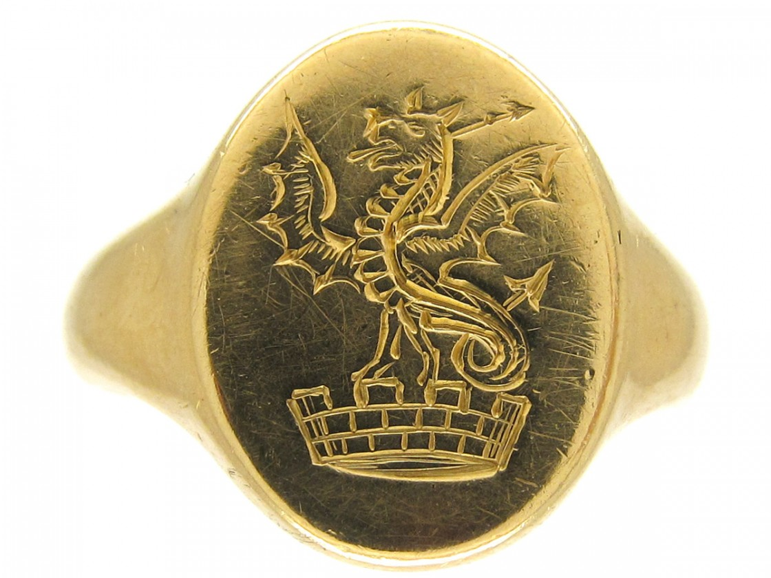 18ct Gold Welsh Dragon Signet Ring