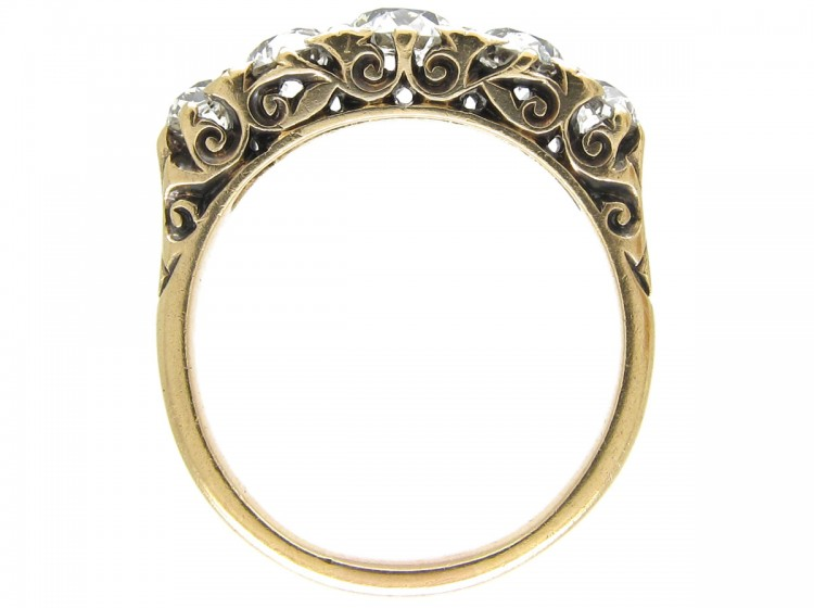 Victorian Five Stone Diamond Half Hoop Ring The Antique