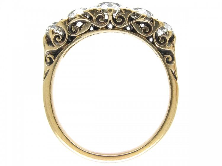 Victorian Five Stone Diamond Half Hoop Ring The Antique