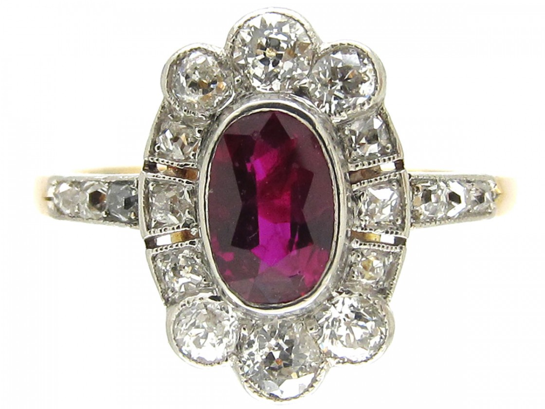 Art Deco Ruby Amp Diamond Cluster Ring The Antique