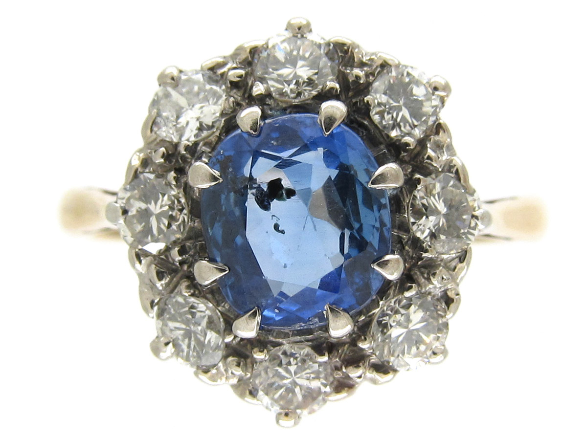 Sapphire Amp Old Mine Cut Diamond Cluster Ring The Antique