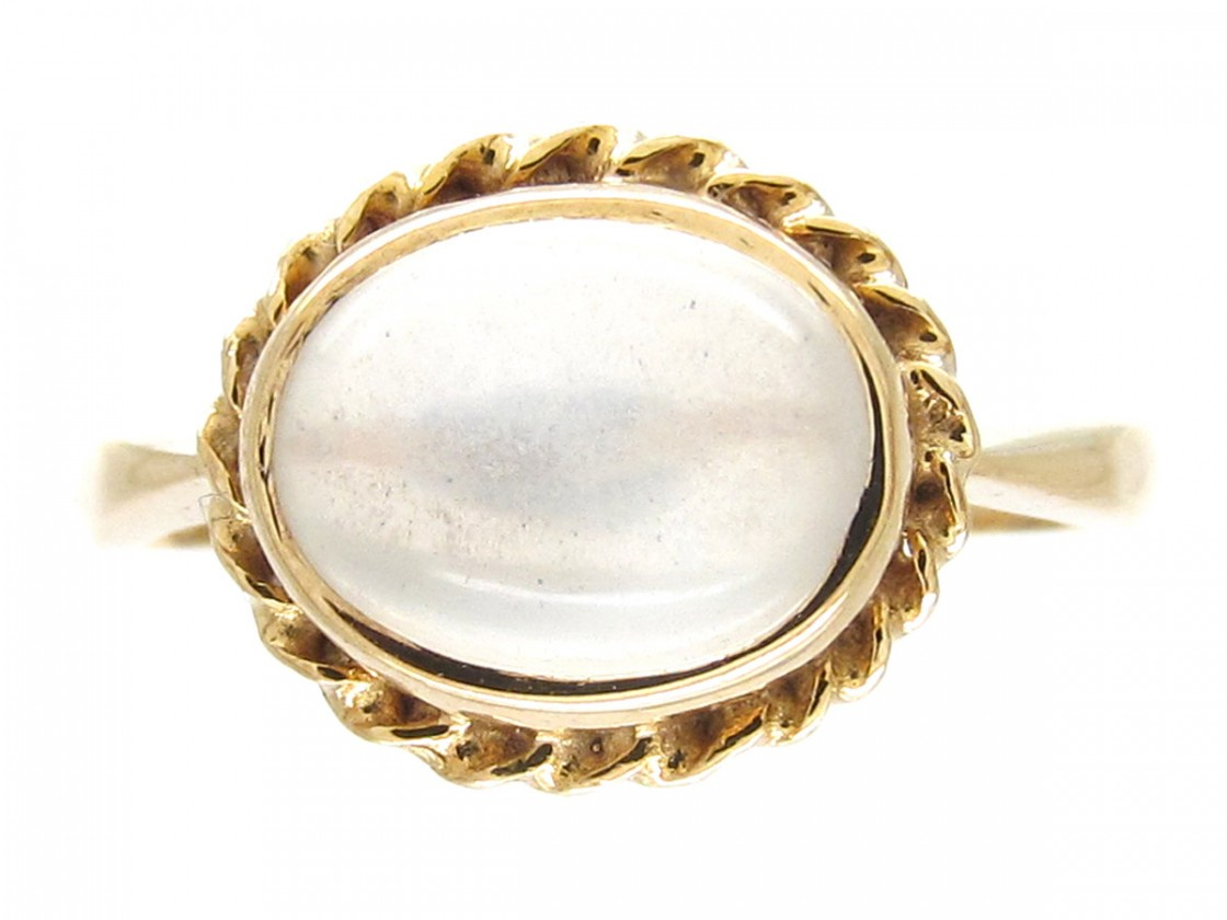 Cabochon Moonstone Amp Gold Ring The Antique Jewellery Company