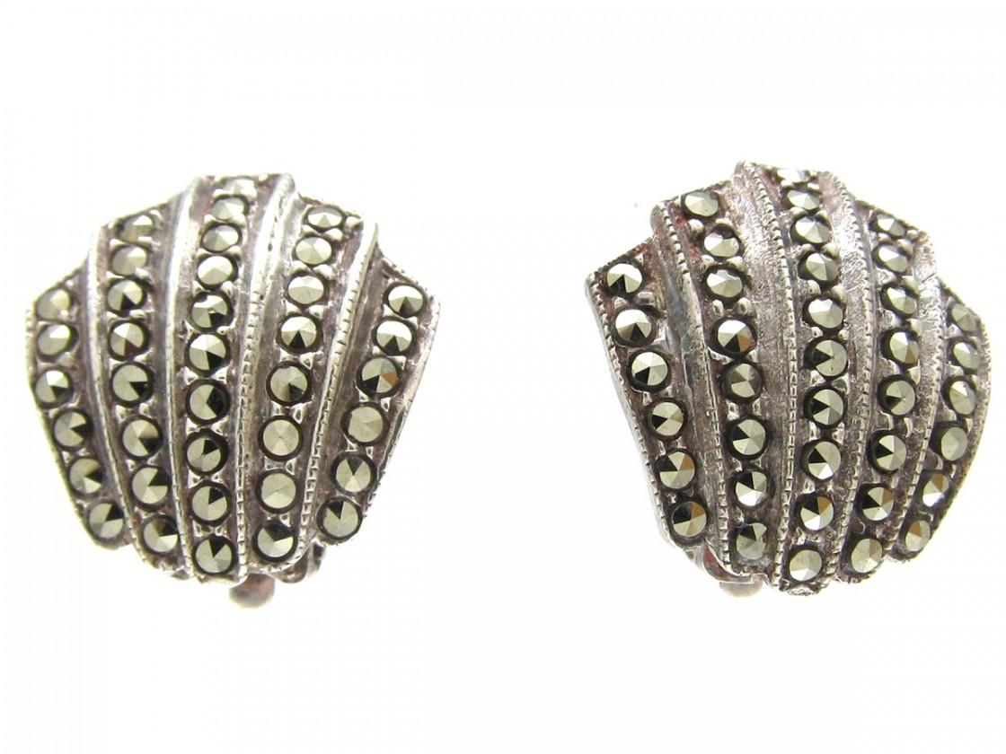 Silver Marcasite Art Deco Clip Earrings