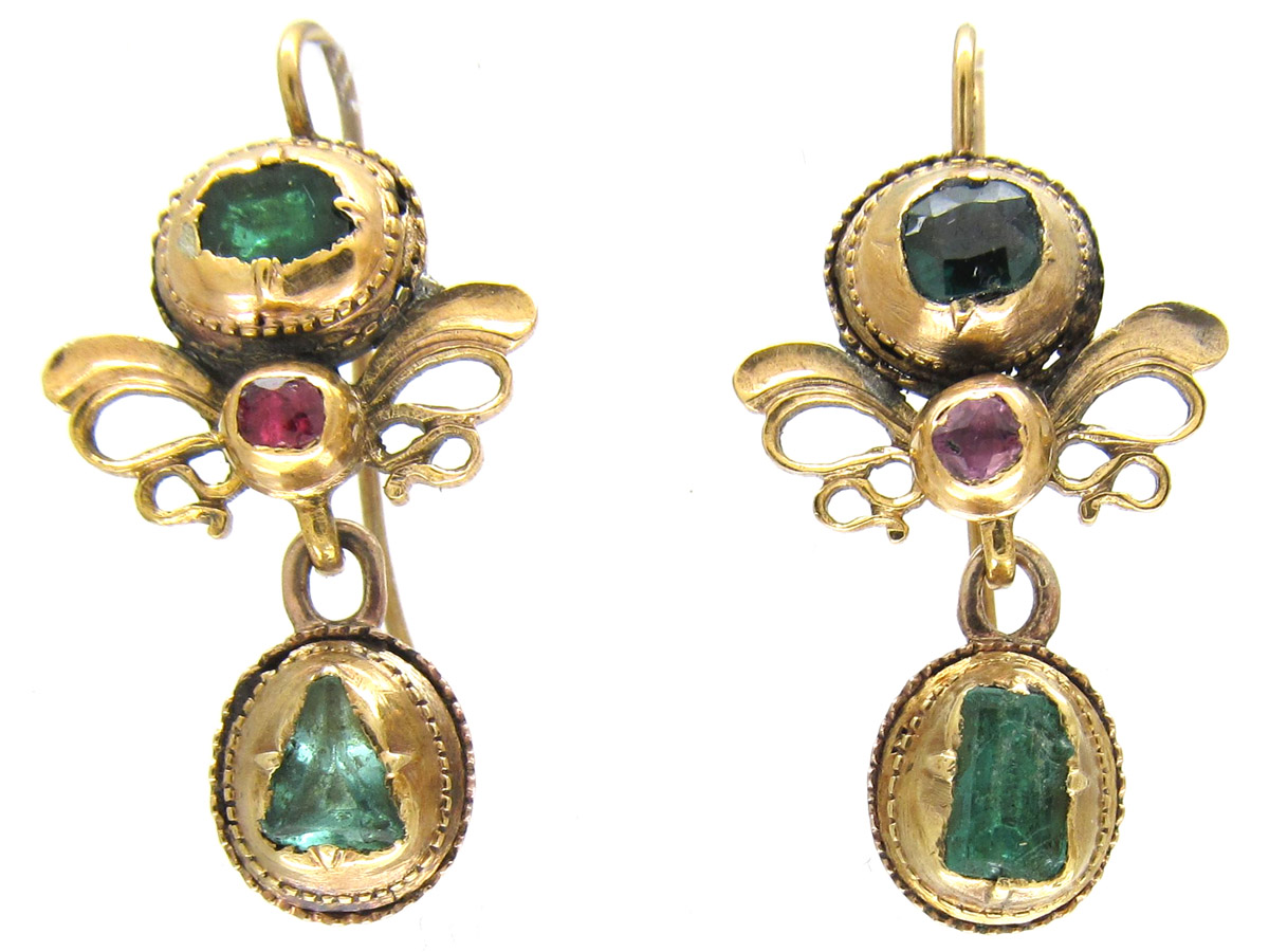 Georgian 18ct Gold Emerald Ruby Earrings