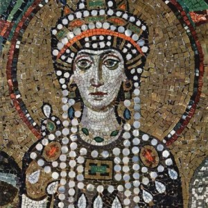 Empress Theodora in a mosaic at St. Vitale in Ravenna - wearing pearls