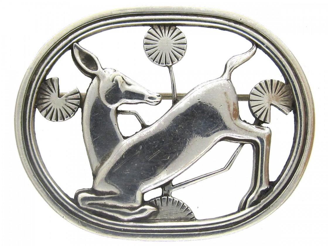 Georg Jensen Silver Deer Brooch The Antique Jewellery