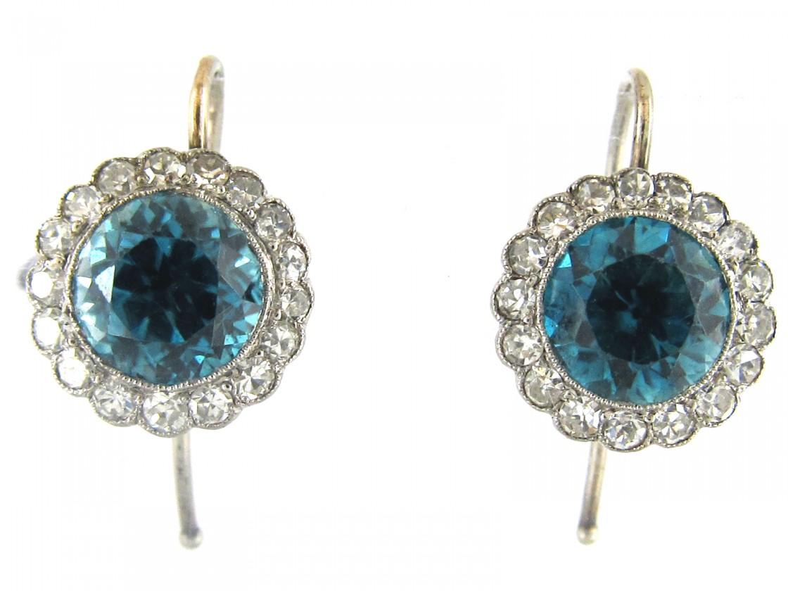 Edwardian Blue Zircon Diamond Cer Earrings