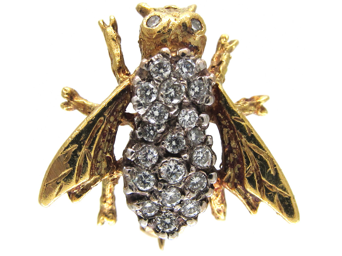 Diamond Amp 18ct Gold Bug Brooch The Antique Jewellery Company