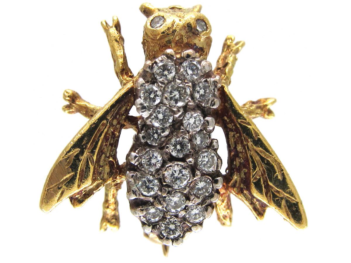 Diamond Amp 18ct Gold Bug Brooch The Antique Jewellery Company