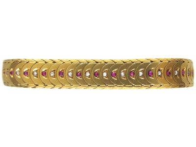 18ct Gold Ruby & Diamond Overlap Design Bracelet