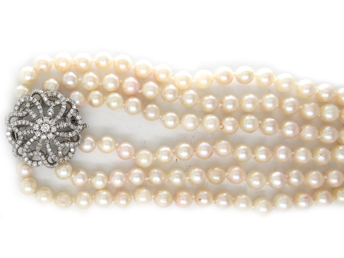 Cultured Pearl Three Strand Necklace With Large Diamond