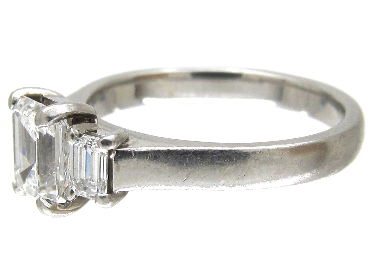 Three Stone Baguette Cut Diamond Ring The Antique
