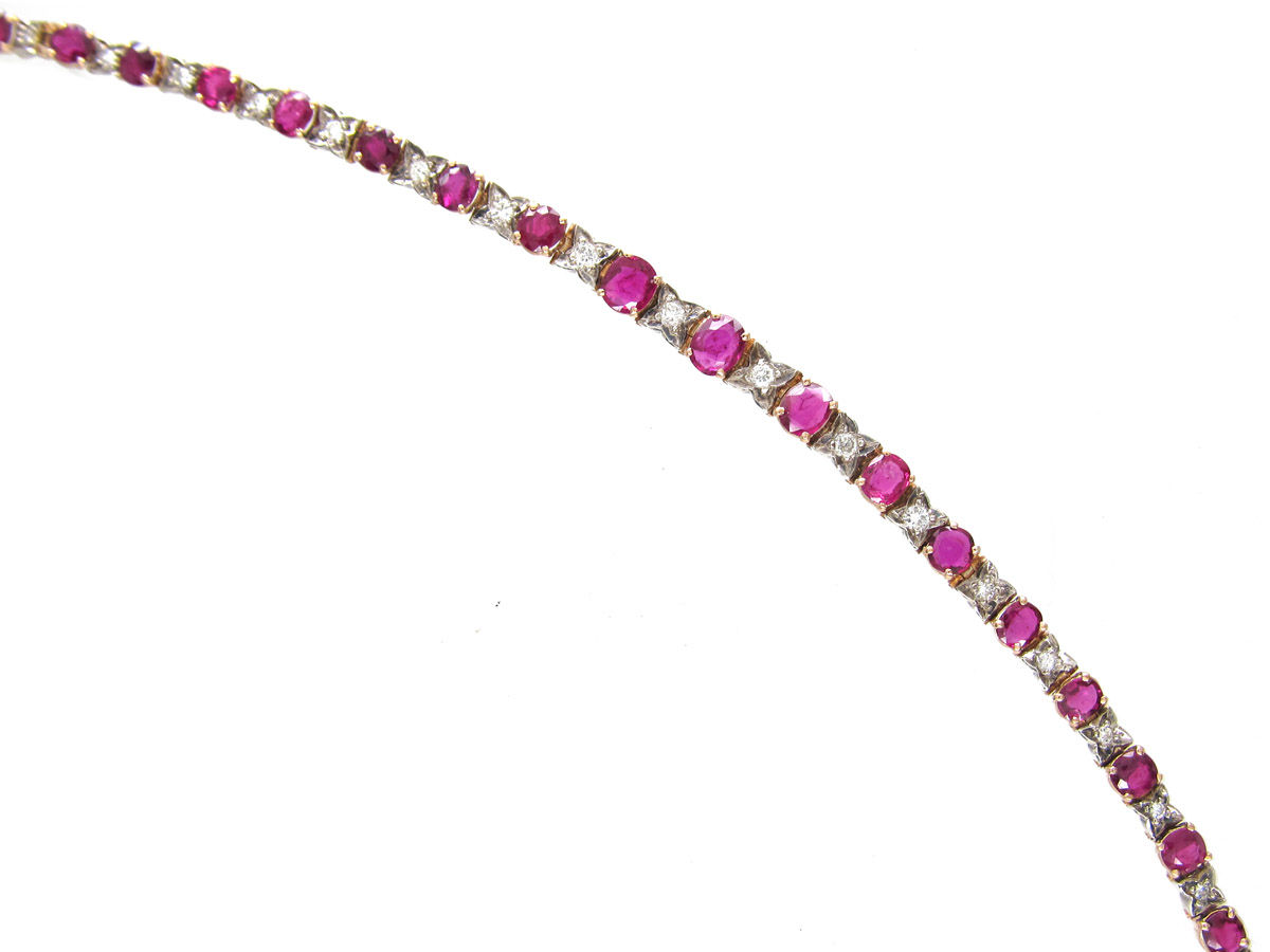 18ct Gold Ruby Amp Diamond Bracelet The Antique Jewellery