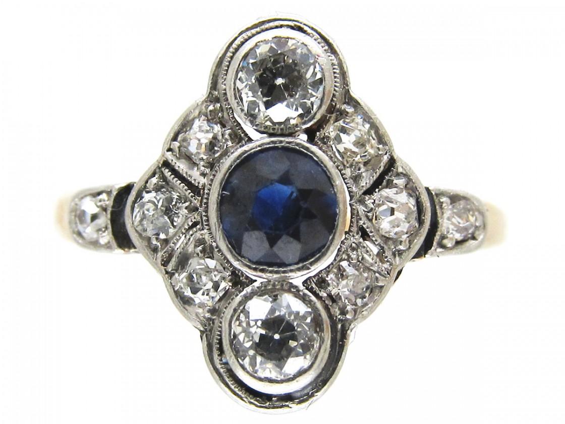 Art Deco Sapphire Amp Diamond Diamond Shaped Ring The