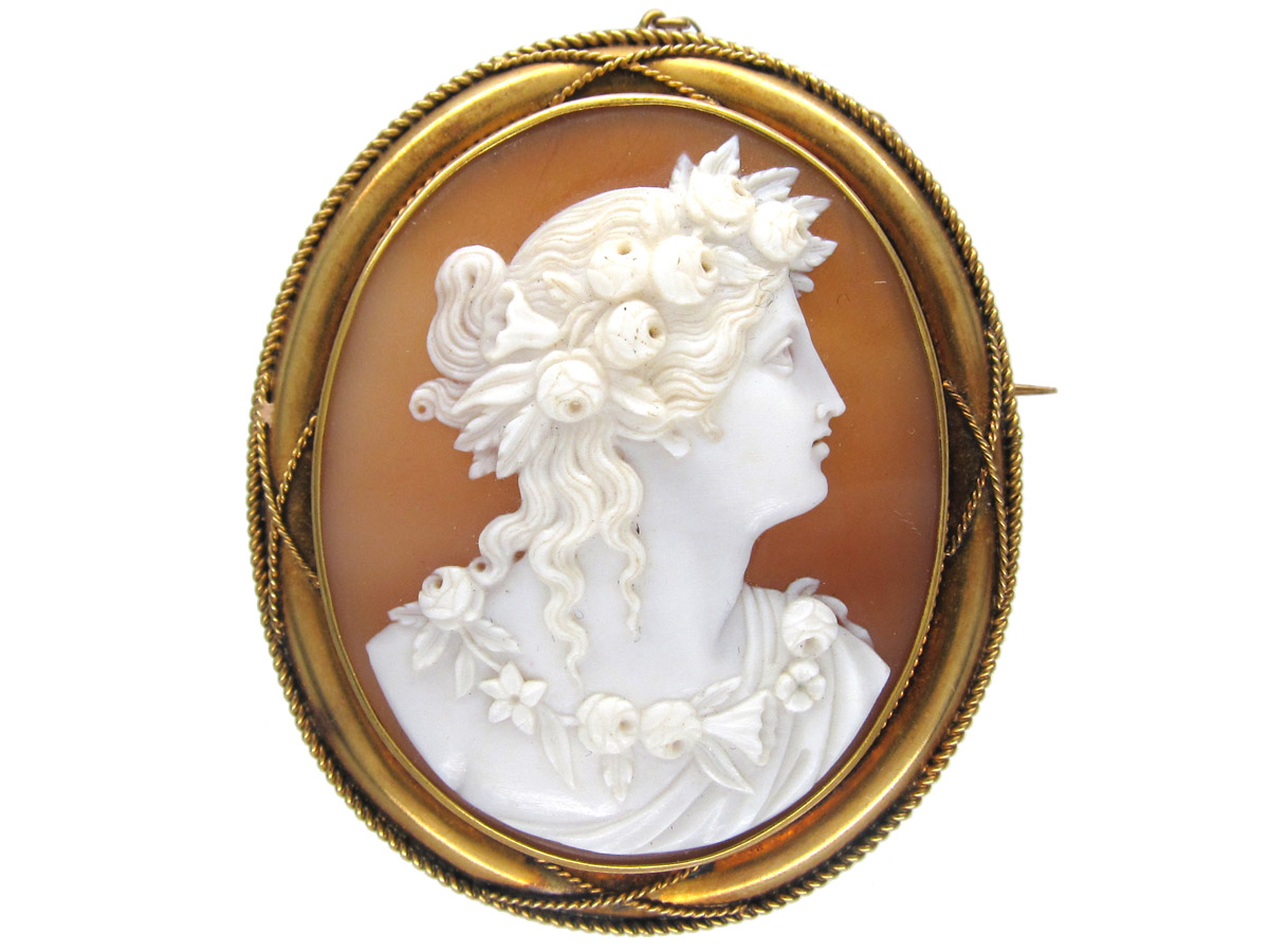 Victorian 18ct Gold Shell Cameo Of Classical Lady The